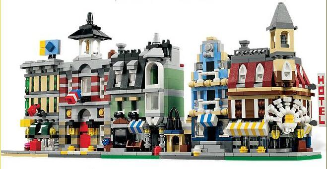 5 in 1 Model building kit compatible with lego city mini Creators Cafe Corner Creators town hall Creator Fire Brigade