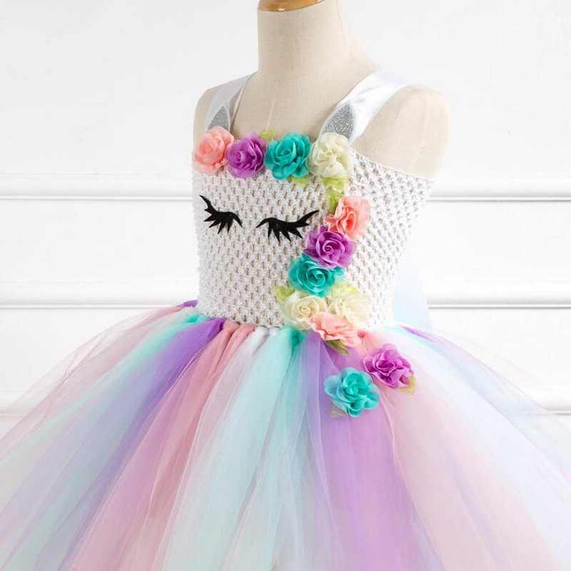 1b941399989 ... Rainbow Unicorn Pony Tutu Dress with Hair Hoop Princess Flower Girls  Party Dress Children Kids Halloween ...