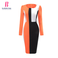 Bodycon Dress Long Sleeve Women Patchwork Color Block Autumn Winter Slim Office Work Sheath Pencil Dress