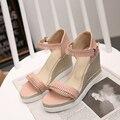 Plataforma de la manera sandalias de las mujeres 2016 del verano altos talones marginales zapatos de las cuñas de las mujeres de Cuero Suave de gran tamaño zapatos de las nuevas llegadas
