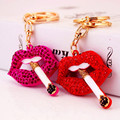 New Arrival Creative Sexy Lips Smoke Key Chain Fashion Key Ring Holder Car Keychain Metal Keyring Women Wedding Gifts