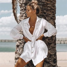 Tunic Cover-ups White Cotton Beach Mini Dress Summer Women Beachwear Sexy V-Neck Button Front Swimsuit Cover Up