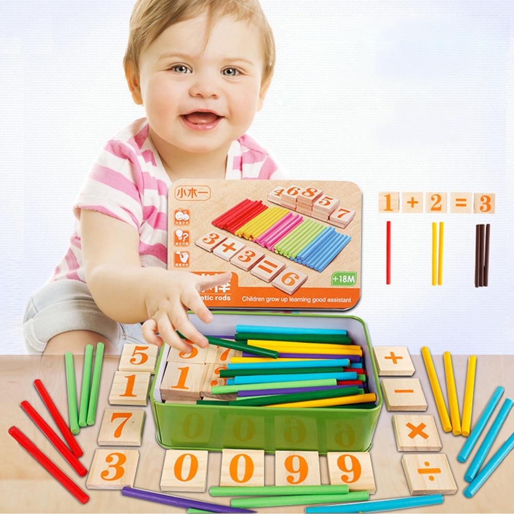 Montessori edukacinio žaislo aritmetiniai strypai Žaislų matematika Medinė kortelė + strypai Apskaičiuokite žaislus Vaikams studentams skaičiuojant žaislą su metalo dėžute