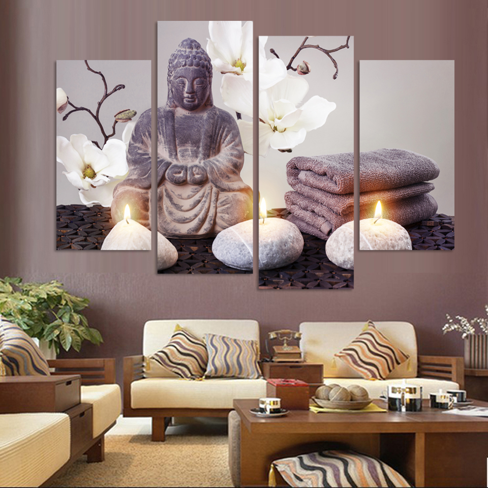 2017 4 Pieces Canvas Art Modern Printed Buddha Painting Picture Decoracion  Buddha Paintings Wall Canvas Pictures For Living Room In Painting U0026  Calligraphy ...