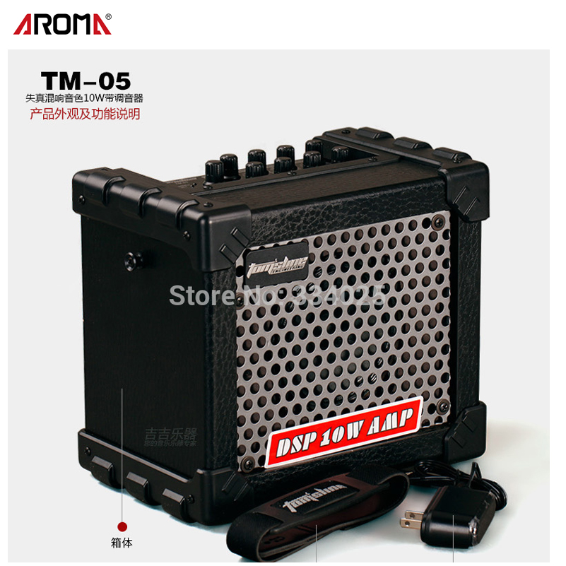 Aroma TM-05 10W Electric Guitar Amp Amplifier Speaker Built-in Tuner Tap Function Effect Volume Tone Control with Power Adapte nickel har blue opals stone electric guitar bass volume tone control knob 3pcs