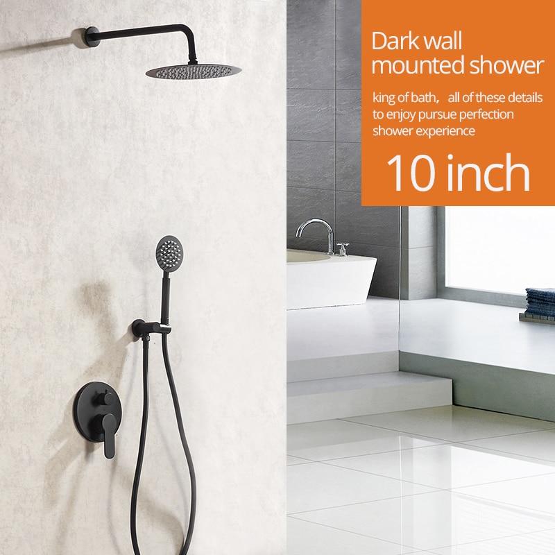 Shower Faucets Matte Black Wall Mount Bathroom Faucet Set Rainfall Square Big Shower Head Handheld Valve