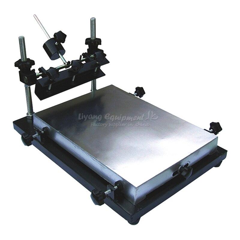 Lire colle et pâte à braser pochoir imprimante réglage Manuel Sérigraphie machine d'impression de table