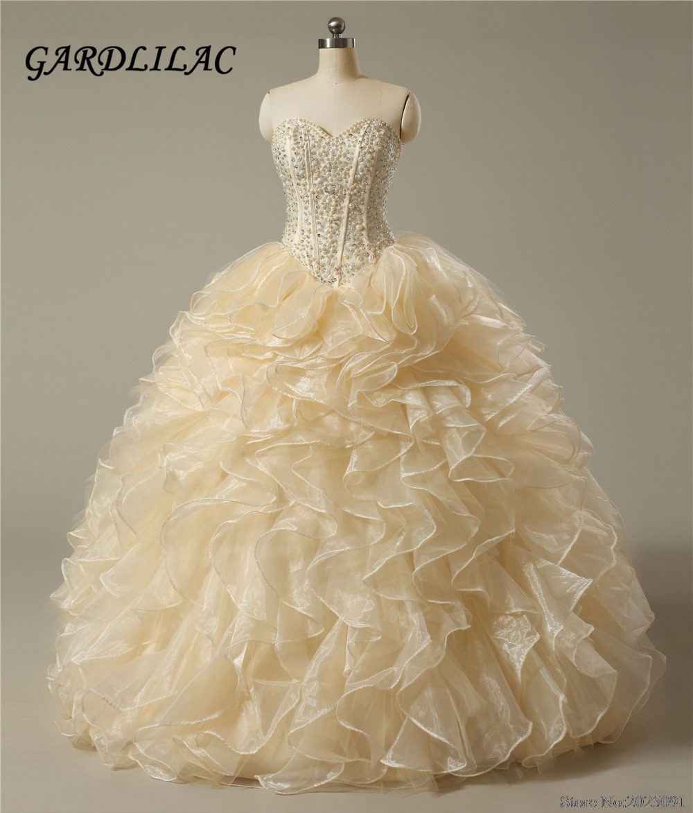 2019 New Style New Sweetheart Champagne Quinceanera Dresses 2019 Ball Gown With Pearls Crystal Cheap Quinceanera Gowns Long Prom Dress Weddings & Events