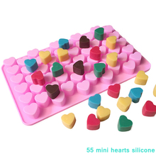 1 Pcs 55pcs Heart Chocolate Moulds Pink Silicone Molds Soap Pudding Biscuit DIY Cookie Baking Tools Candy
