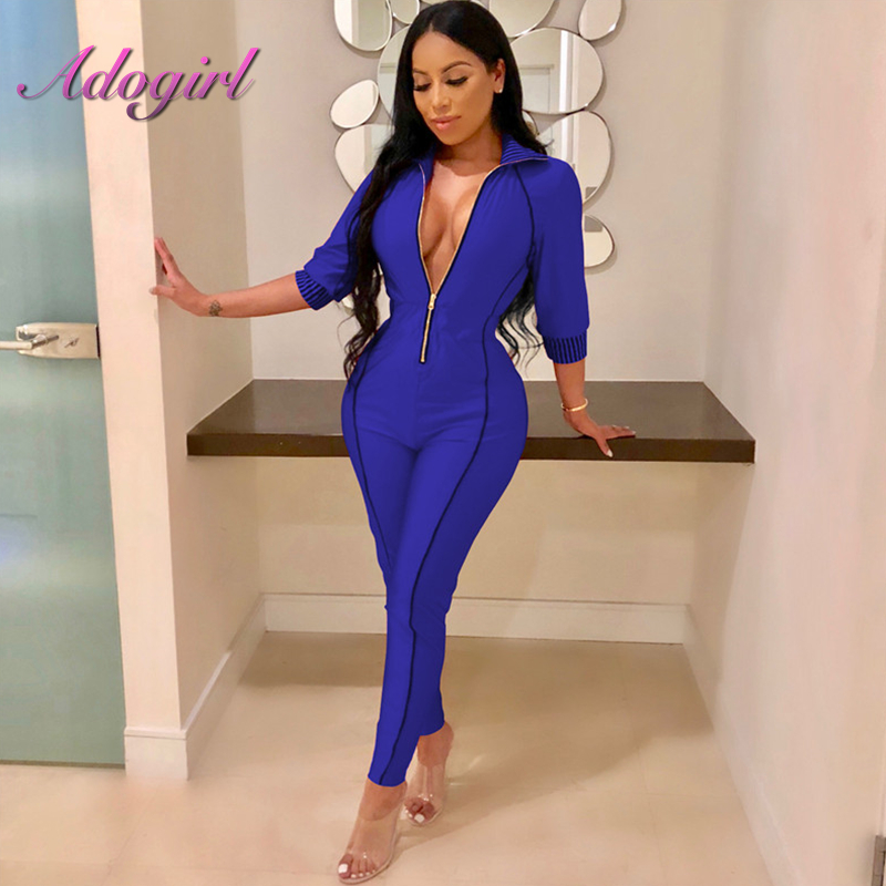 2018 Autumn Solid Front Zippers Jumpsuit Three Quarter Sleeve Ladies Night Club Party Overalls Outfits