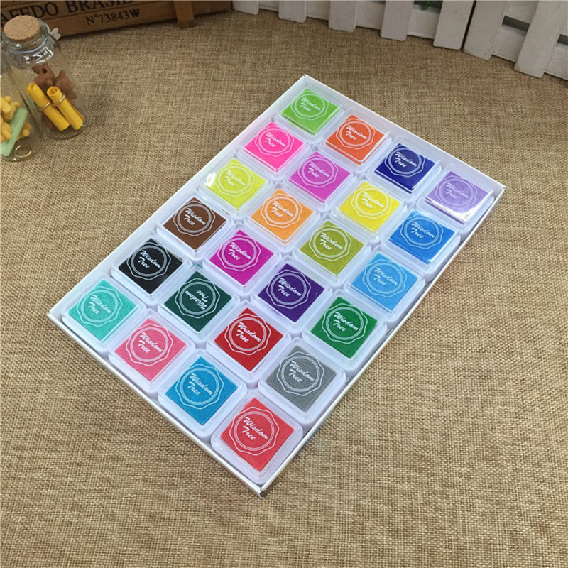 24 Colors Cute Inkpad Cartoon Stamp Craft Oil Based DIY Ink Pads for Rubber Stamps Scrapbook Decor Fingerprint Kids Toy-in Stamps from Home & Garden