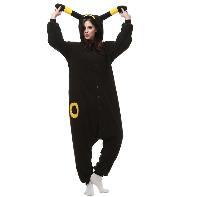Adult Polar Fleece Kigurumi Umbreon Pokemon Cosplay Costume Onesie Pajama Halloween Carnival Masquerade Party Christmas Jumpsuit