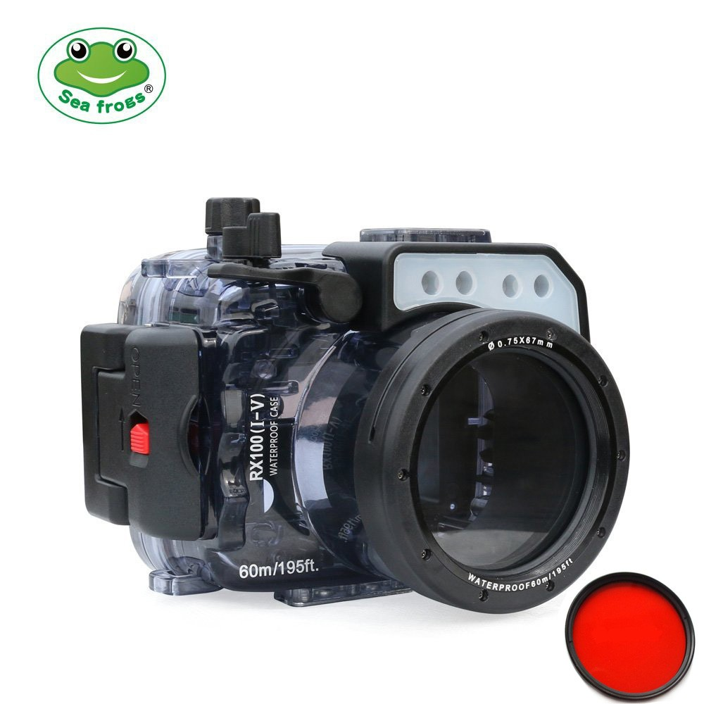 Seafrogs 60m/195ft Underwater Camera Waterproof Housings Case For Sony RX100/RX100 II/RX100 III/RX100 IV/RX100 V+Red Filter 67mm