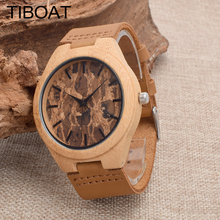 2017 Men's Clock Brown Vintage Wooden Watches With Real Leather Band Design Man Casual Top Brand Quartz Watches With Gift Box