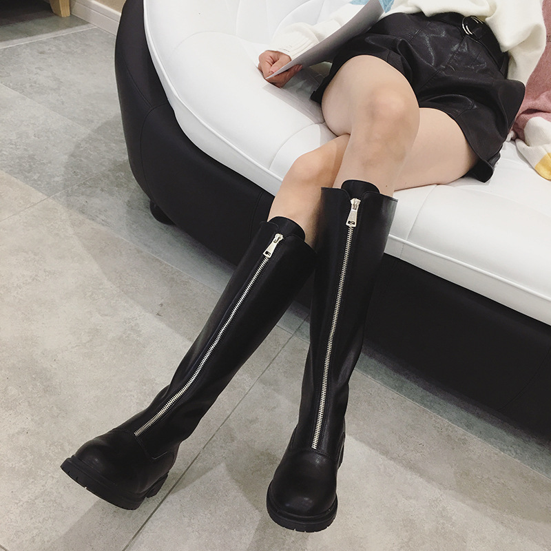 Booties 2018 autumn and winter new front zip low heel boots wild black boots bootsBooties 2018 autumn and winter new front zip low heel boots wild black boots boots