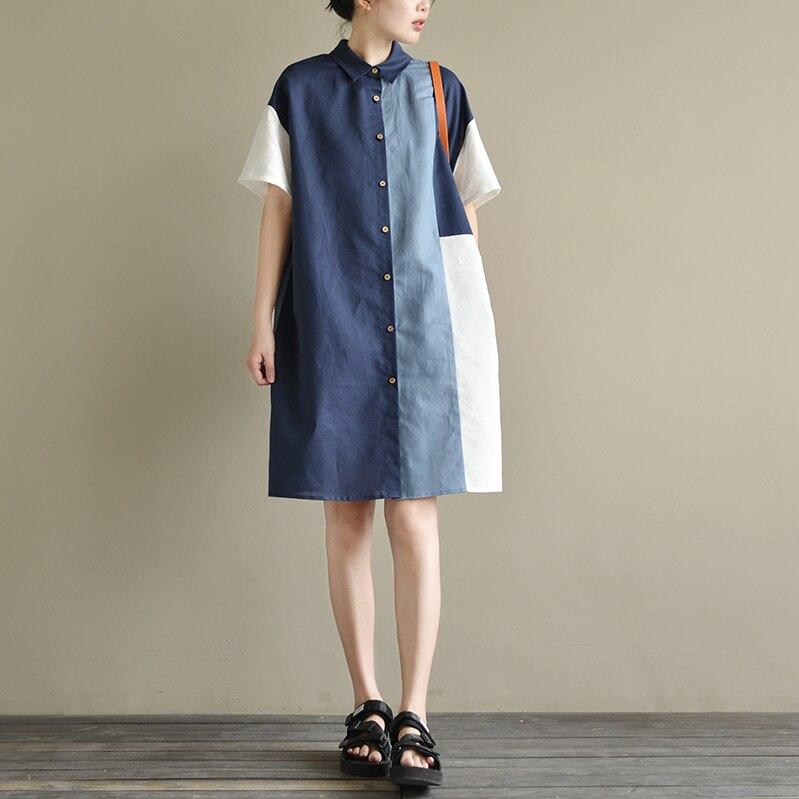 TRCP été femmes décontracté lâche Patchwork couleur bloc coton linge robes de chemise