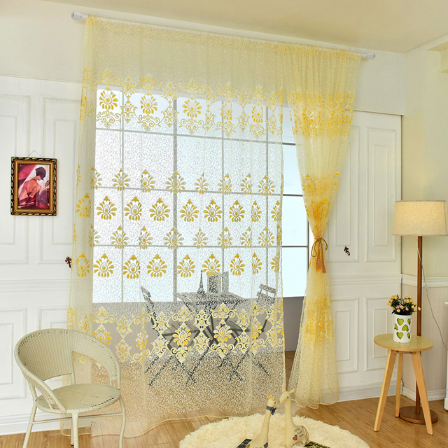 Home Office Curtains Inside Fashion Design Modern Transparent Hook Floral Print Curtains For Window Home Office Room New