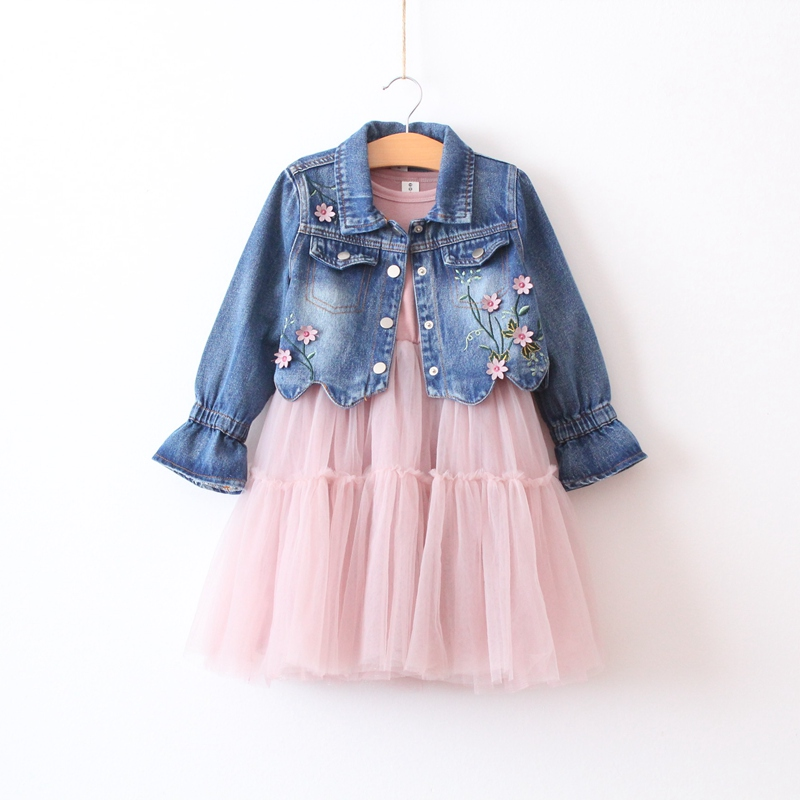 2 pcs Girls' autumn new denim short jacket top + long sleeve stitching dress cropped wide sleeve top