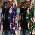 Мода Женщин Дамы Случайные Свободные Длинный Рукав Цветок рубашка топы