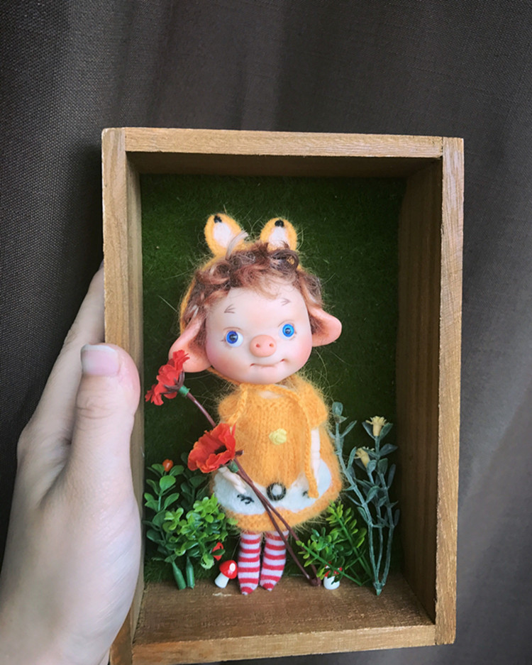 Réservation, mini cochon BJD, corps multi-articulations, adapté pour cadeau et collection, jouets cadeaux faits à la main, réservation nécessaire, série 3. - 5