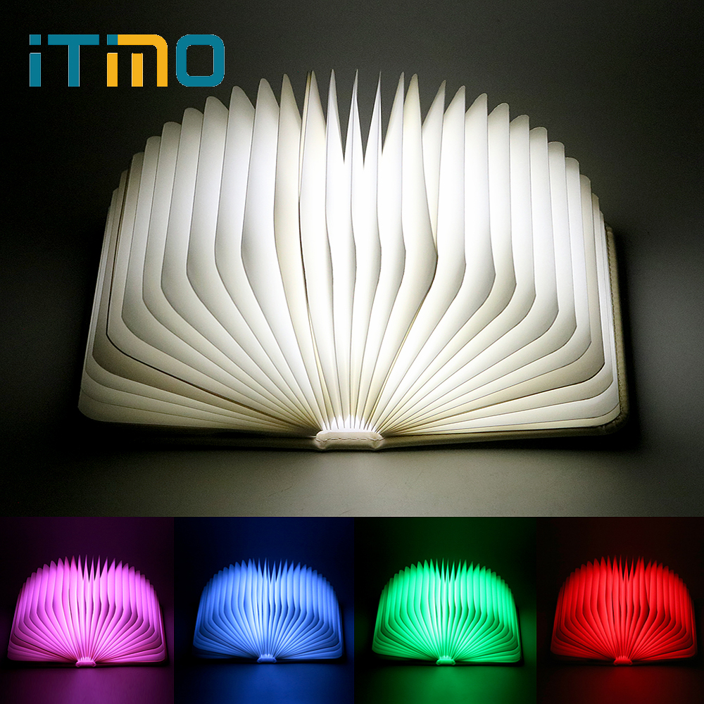 ITimo Table Lamp Rechargeable LED Book Shaped Night Light Home Decor Book Lights USB Port Birthday Gift for Kids Folding icoco usb rechargeable led magnetic foldable wooden book lamp night light desk lamp for christmas gift home decor s m l size