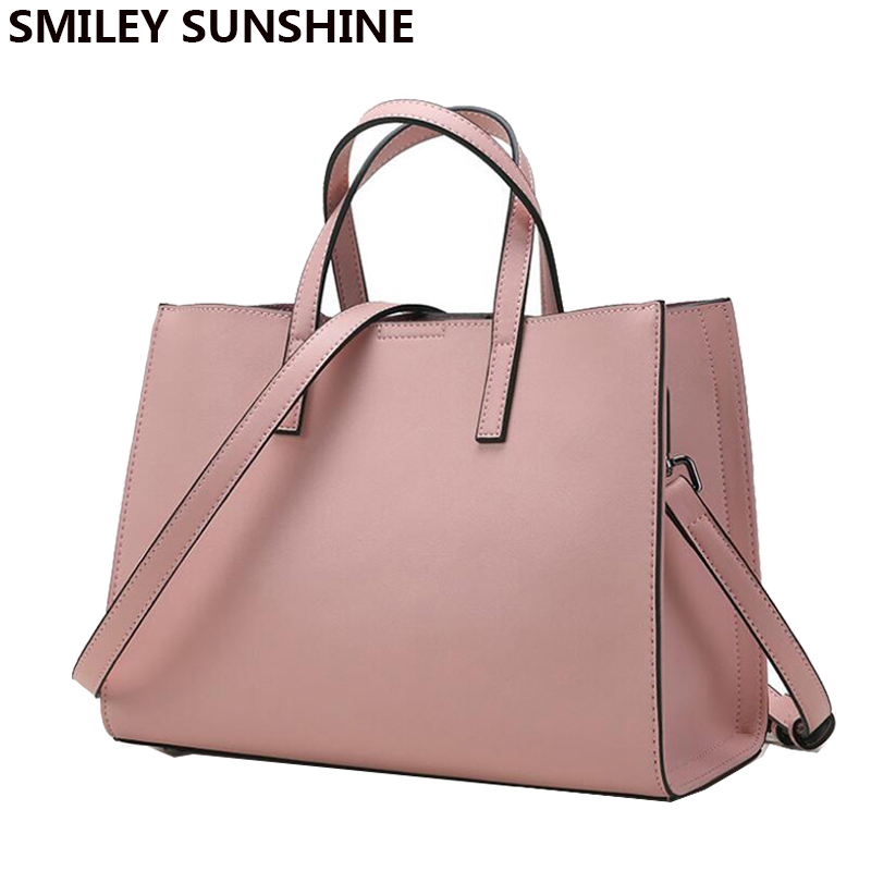 SMILEY SUNSHINE Luxury Ladies Genuine Leather Handbags Bags for Women 2017 Saffiano Shoulder Bags Female Famous Tote Hand Bags