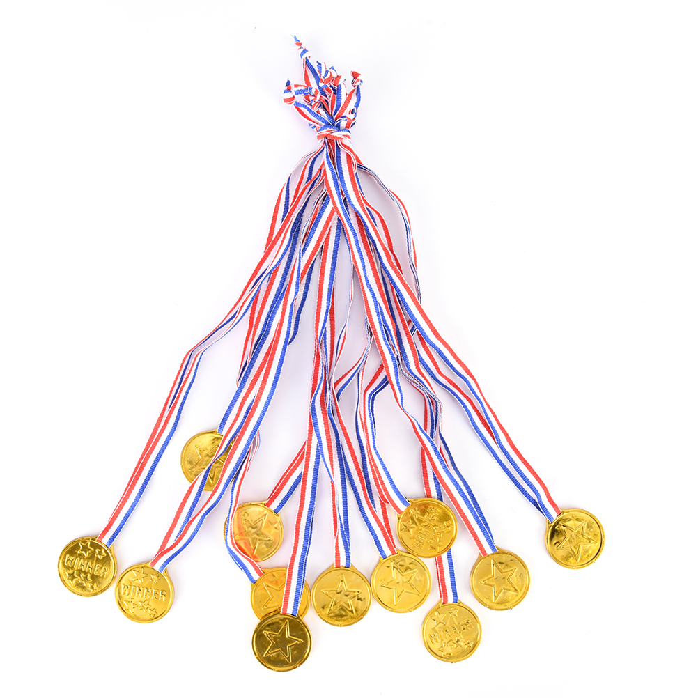 12pcs Plastic Children Gold Winners Medals Kids Game Sports Prize Awards Toys Party Favor High Quality