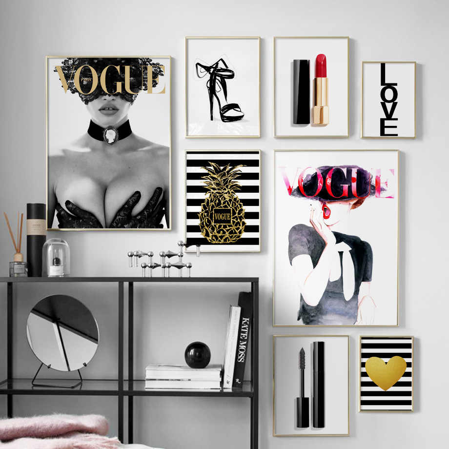 Vogue Girl Perfume Lipstick Wall Art Canvas Painting Fashion Brand Nordic Posters And Prints Wall Pictures For Living Room Decor