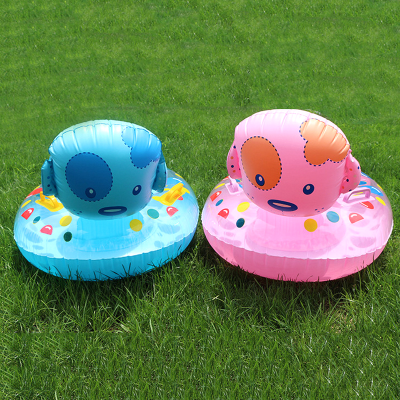 C211 New Children Patch Dog Swimming Circle Cartoon Baby Water Boat Baby Swimming Pool Inflatable Toys With Handle
