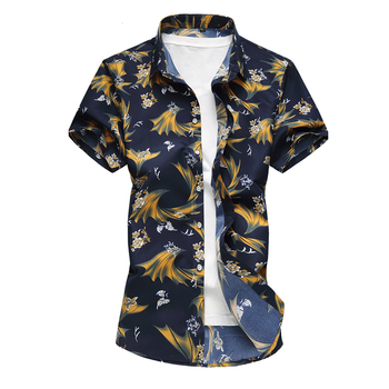 Summer Mens Short Sleeve Beach Hawaiian Shirts Cotton Casual Floral Shirts Plus Size 7XL 2018 New Mens Clothing Fashion