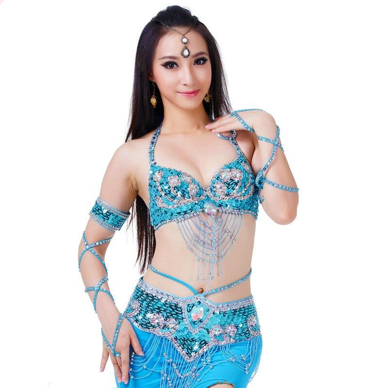 Women Belly Dance Top Bra & Bellydance Belt Oriental Costume Suit Brilliant Bra 34/75C Beaded Belly Dance Belt 2 Pieces Suit