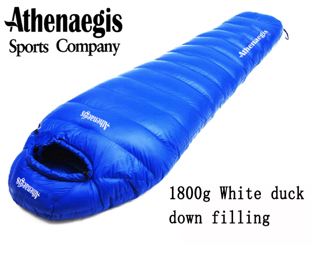 Athenaegis 1800G white duck down filling can be spliced mummy ultra-light sleeping bag pu leather and corduroy spliced zip up down jacket