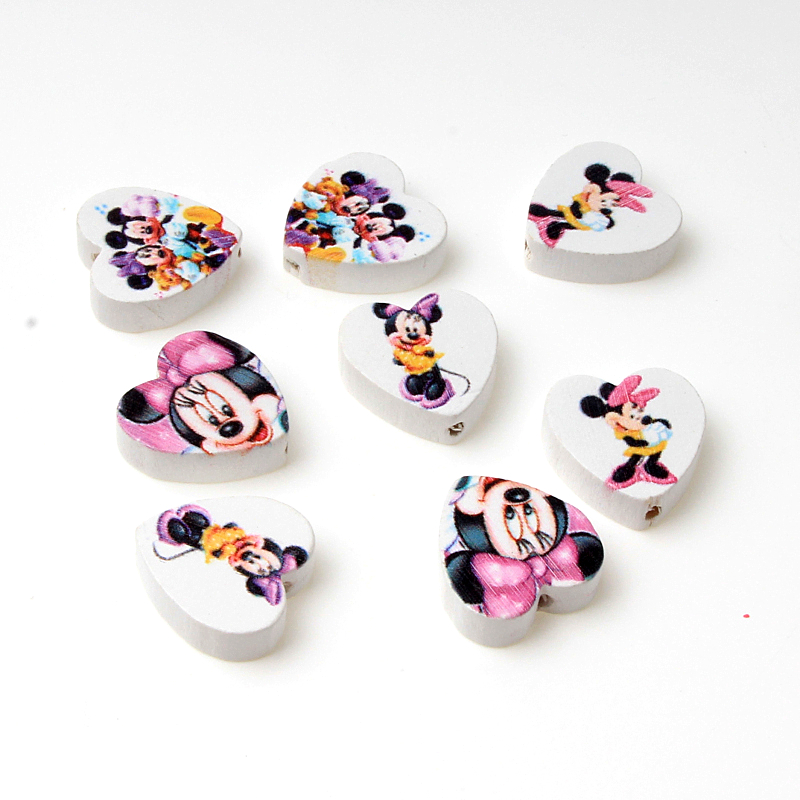 Cartoon Serie 30 Pcs <font><b>20mm</b></font> Herz Form Nette Maus Muster Stil Spacer Holz Perlen Fit diy Schmuck Machen image