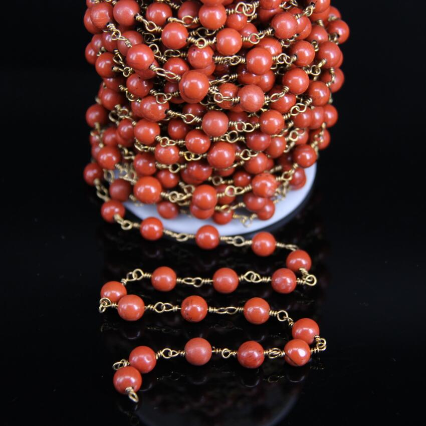 Natural Red Jasper 8mm Smooth Round Beads Rosary Chain,Brass Wire Wrapped Red Stone Fashion Chain DIY Necklace bracelet Jewelry все цены
