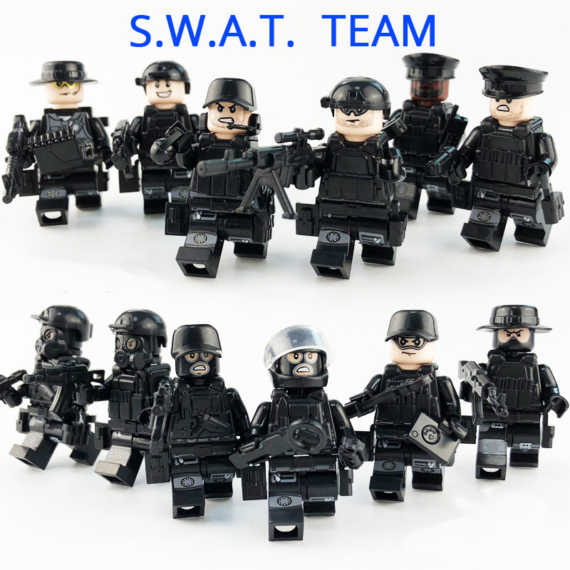 SWAT Team City Police Military Build Blocks Brick Compatible legoed Toy WW2 War Arms Scene Series Soldier Army Gun Weapon Figure ...