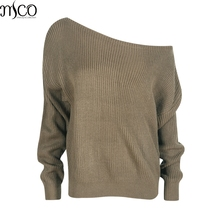MCO Sexy One Shoulder Plus Size Jumper For Women Winter Casual Loose Pullover Oversized Pull Over Women's Sweater 5xl 6xl 7xl