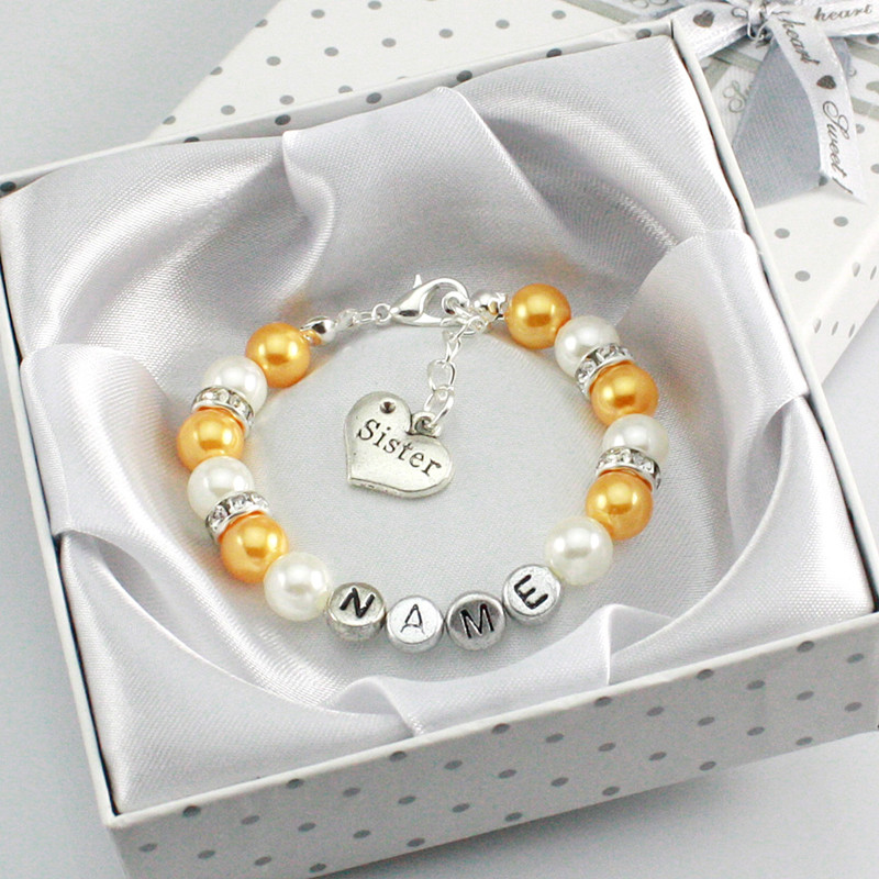 New Personalised Girl Birthday Wedding Gift Charm Bracelet Daughter With Box-gold