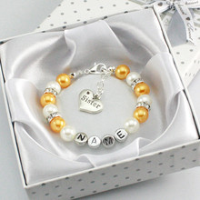 New Personalised Girl Birthday Wedding Gift Charm Bracelet Daughter With Box gold