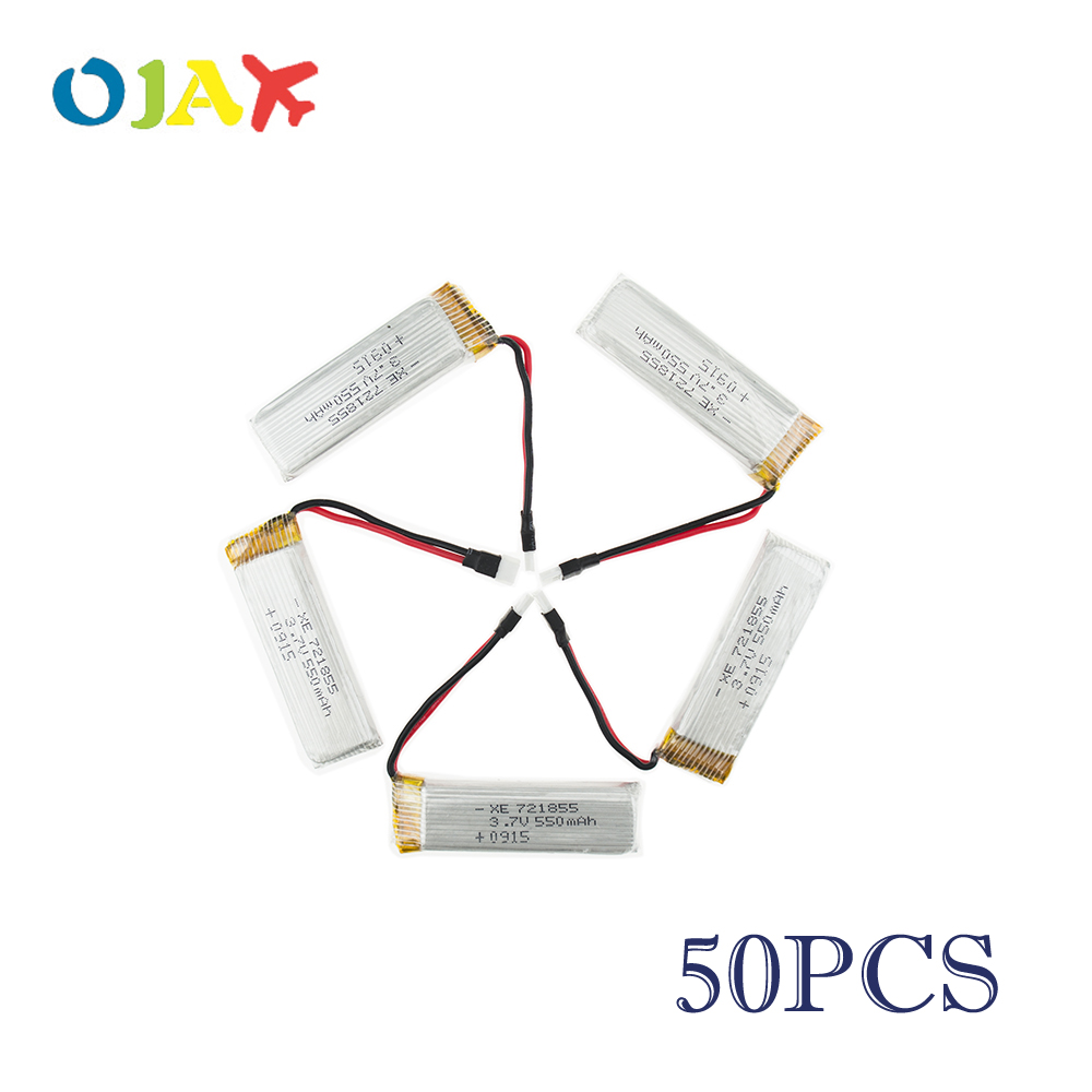 50pcs 3.7V 550mAh Li-polymer Battery 721855 For RC Eachine E50 & JJRC H37 RC Helicopter Drone Spare Part Wltoys V930 V977 V988 mini drone rc helicopter quadrocopter headless model drons remote control toys for kids dron copter vs jjrc h36 rc drone hobbies