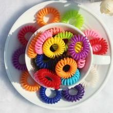 1Pcs Women Rubber Hair Rope Elastic Hairbands Spiral Shape Hair Ties Headwear Accessories Telephone Wire Line Random Color