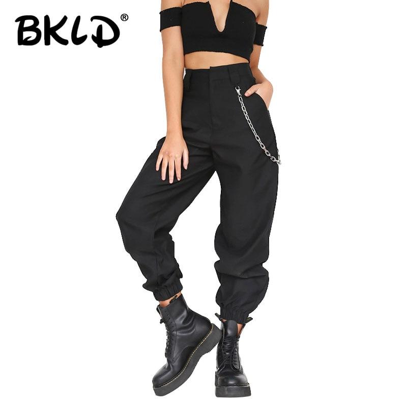 BKLD Verano de 2019 de cintura alta pantalones de harén de las mujeres moda Slim sólido Color pantalones Hip Hop pantalón Streetwear con las cadenas