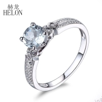 HELON Solid 14K White Gold Round Cut Aquamarine Natural Diamond Gemstone Ring Engagement Wedding Women's Fine Jewelry Ring