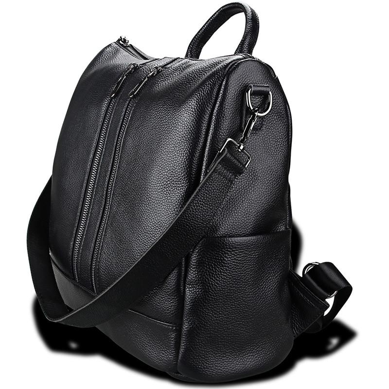 Genuine Leather Black Backpack for Teenage Girl Laptop School Leather Backpacks Female Backpack Women Top-handle Shoulder Bag недорого