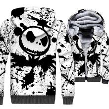 Mens Sweatshirts For Autumn Winter Thick Zipper Jacket 2018 Streetwear Jack Skellington 3D Print Hoodies Men SKULL Hip Hop Hoody майка print bar jack skull