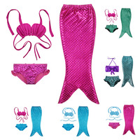 2016 Newest Lovely Princess Children Baby Girls Mermaid Tail Bath Split Swimsuit Costume Swimsuit Bikini Set