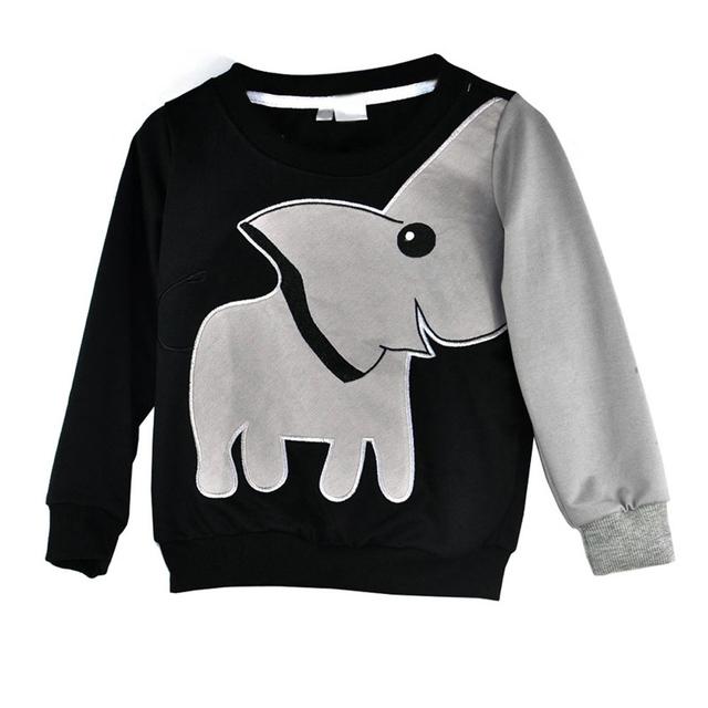 2015 Padrão Elefante Velo Mangas Compridas Camisolas Dos Miúdos Meninos E Meninas Nascidos Pano Preto Crianças Rompers CL0744