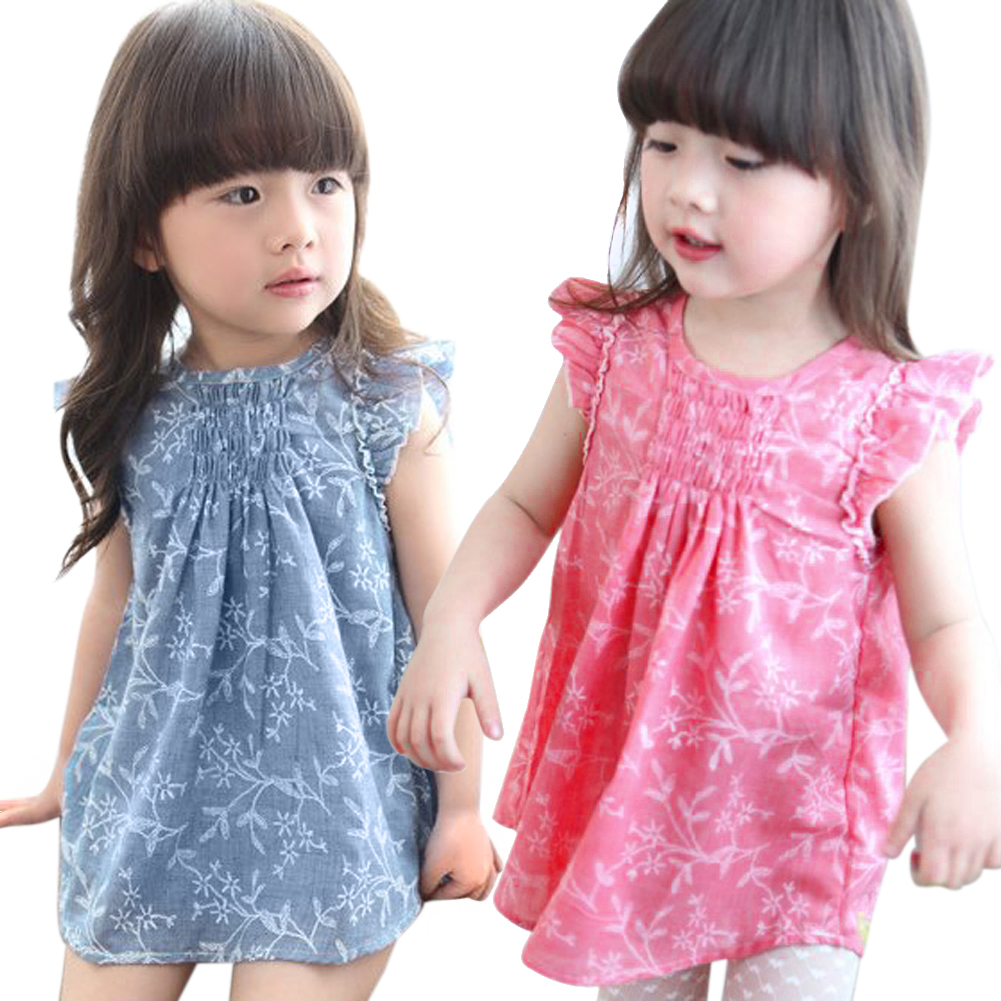 Baby Girls Summer Floral Dress Kids Princess Party Pageant Cotton and Linen Ruffles Sleeveless Dresses Children Clothing summer princess baby girls lace dress kids party wedding flower dresses cute sleeveless mesh cotton children girls dress dq372