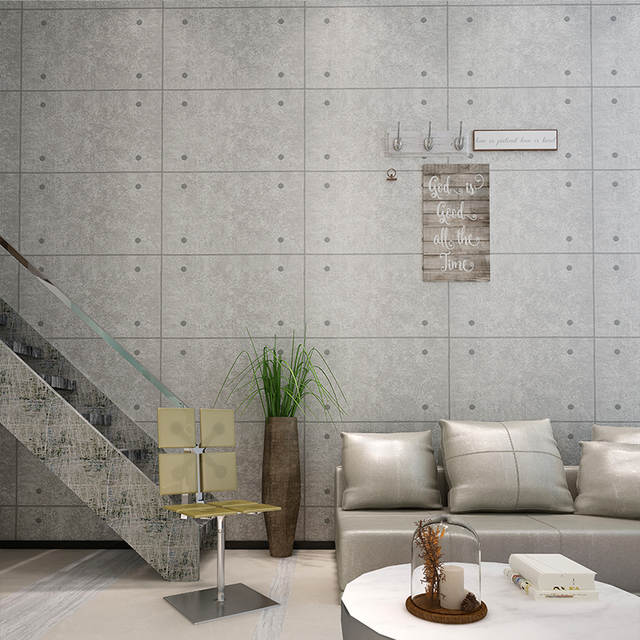 Placeholder Gray Concrete Wall Brick Pattern Wallpaper For Walls Roll Living Room Restaurant Cafe Vinyl