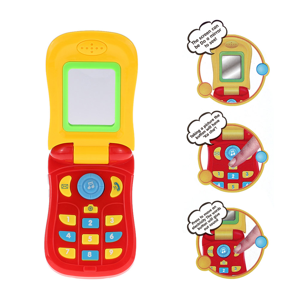 Electronic Toy Phone Musical Mini Cute Children Phone Toy Music Flip Diary Case Cover Cell Phone Enlightenment Toy