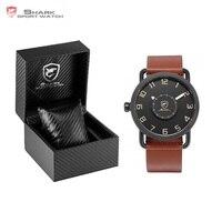 Luksusowe Pudełko Karaibów Szorstki Shark Zegarek Sportowy Gramofon Obracać Second Hand Skóra Mężczyzn Wrist Watch Relojes Hombre/SH522-526